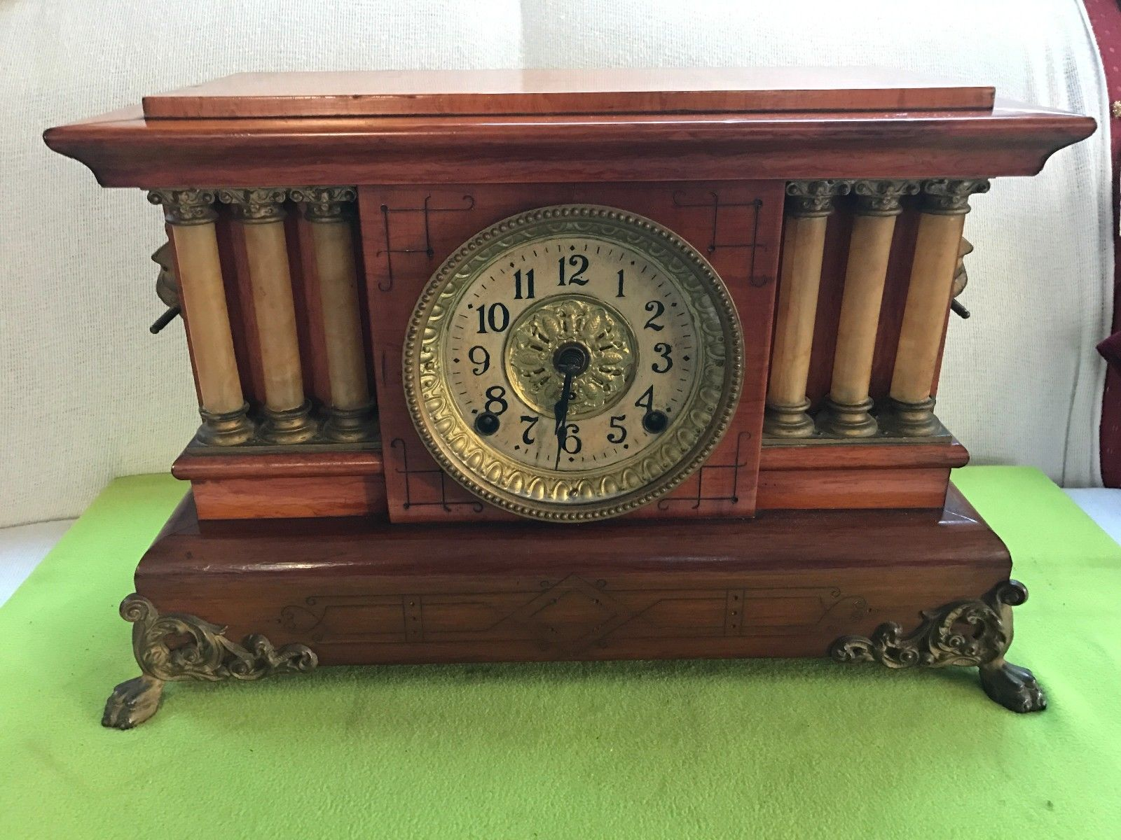 Seth Thomas Triple Pillar Columns Adamantine Mantle clock